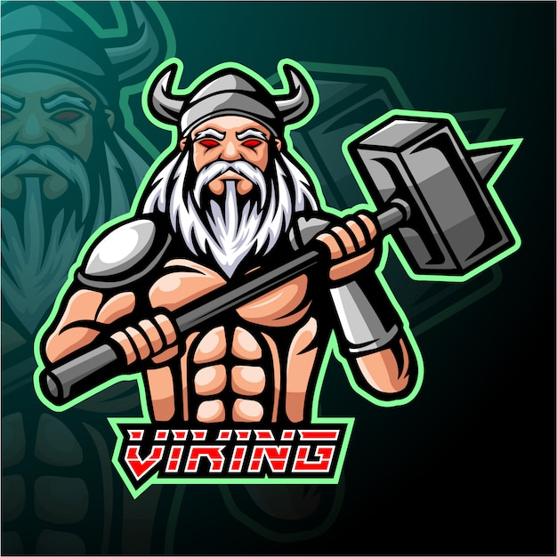 Design de mascote do logotipo viking esport