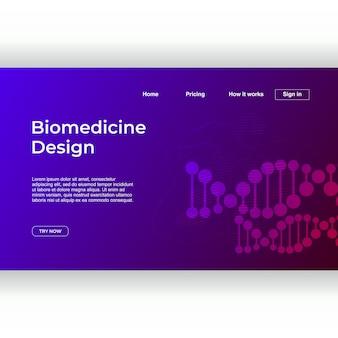 Design de medicina minimalista de modelo de página de destino com dna