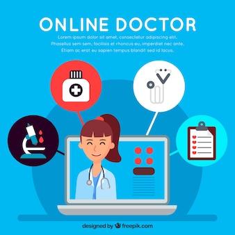 Design de médico on-line azul com ícones