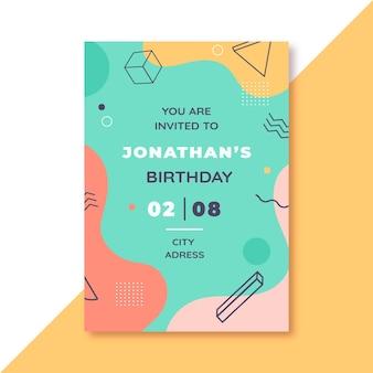 Design de memphis para convite de aniversário