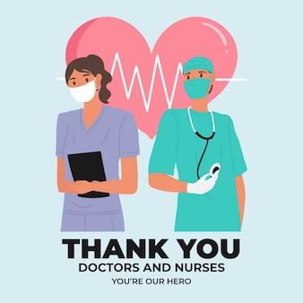 Design de mensagem de agradecimentos a enfermeiros e médicos
