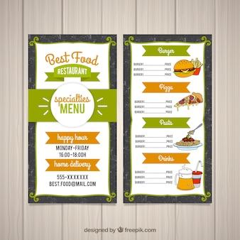Design de menu de comida