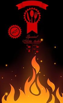 Design de menu de restaurante com chama
