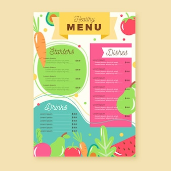 Design de menu de restaurante de comida saudável