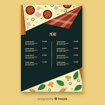 Design de menu para restaurante de pizza