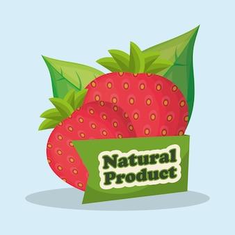 Design de mercado de produtos naturais de morango
