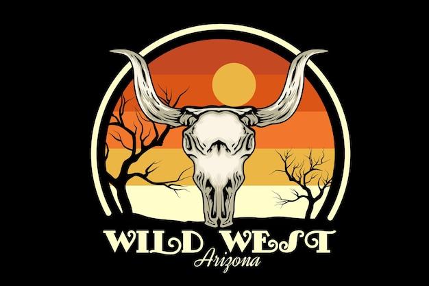 Design de merchandise do oeste selvagem do arizona com caveira
