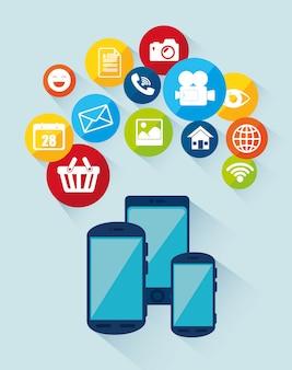 Design de mídia social com ícones multimídia
