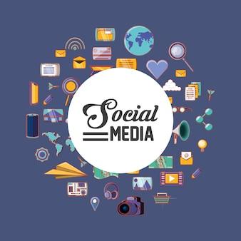 Design de mídia social com ícones relacionados em forma de círculo