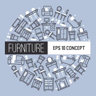 Design de mobiliário de padrão de mobiliário interior da sala cenário mobilado