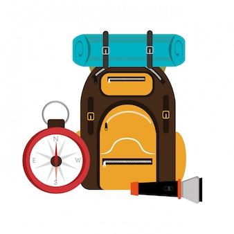 Design de mochila de campismo.