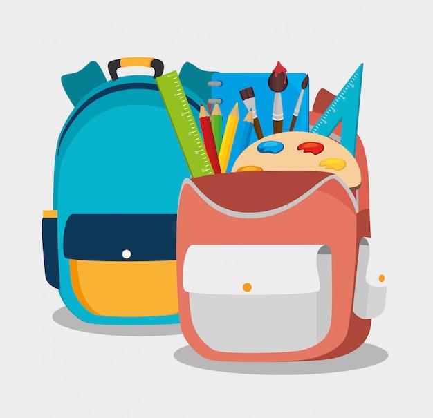 Design de mochila escolar dois mochila