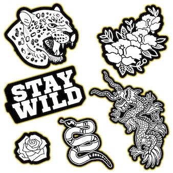 Design de moda impressão de remendo ou adesivo para roupas camiseta bombardeiro moletom com dragão do japão, cabeça selvagem de leopardo, cobra de ouro, frase de tendência, flores moderno ícone na moda para a marca de streetwear.