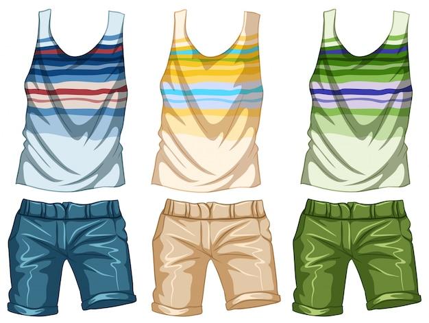 Design de moda para ilustração de tanktop e shorts