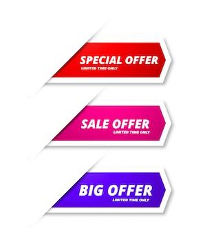 Design de modelo colorido abstrato banners de venda
