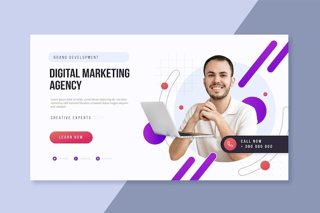 Design de modelo da web para agência de marketing digital horizontal