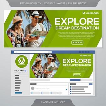 Design de modelo de anúncios de banner de viagens