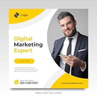 Design de modelo de anúncios de promoção de mídia social especialista em marketing digital