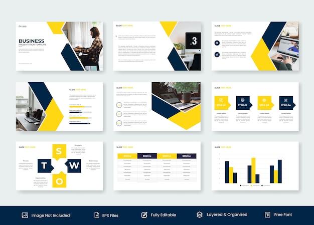Design de modelo de apresentação de slides em powerpoint para negócios mínimos