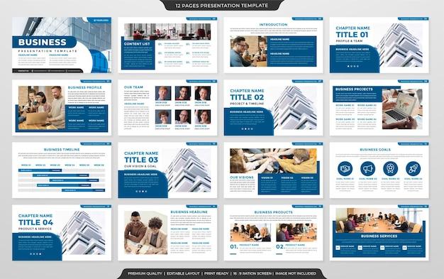 Design de modelo de apresentação multifuncional com estilo simples e layout moderno para uso no relatório anual de negócios