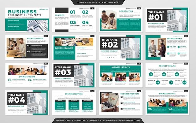 Design de modelo de apresentação multiuso com estilo limpo e conceito simples