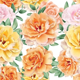 Design de modelo de aquarela floral padrão sem emenda