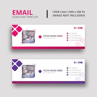 Design de modelo de assinatura de e-mail magenta
