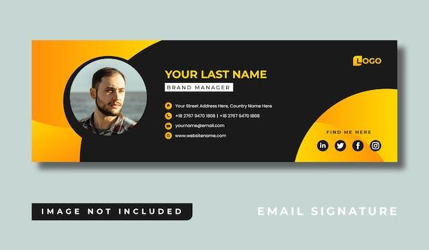 Design de modelo de assinatura de e-mail minimalista pessoal ou rodapé de e-mail e capa de mídia social pessoal