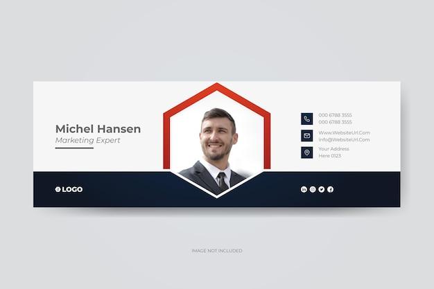 Design de modelo de assinatura de e-mail ou rodapé de e-mail e capa de mídia social pessoal