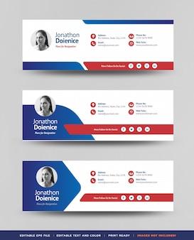 Design de modelo de assinatura de e-mail ou rodapé de e-mail ou capa de mídia social pessoal