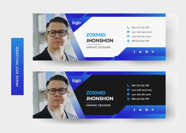 Design de modelo de assinatura de email | capa pessoal de mídia social