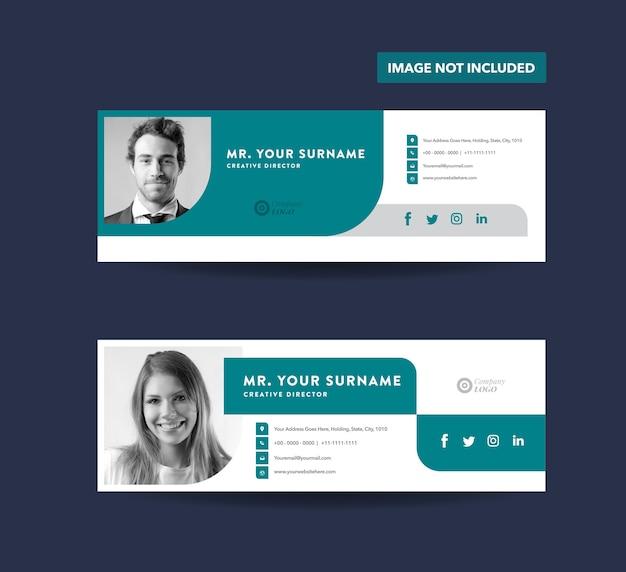 Design de modelo de assinatura de email ou rodapé de email ou capa de mídia social pessoal