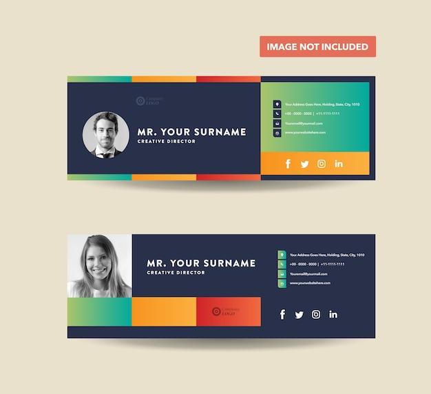 Design de modelo de assinatura de email, rodapé de email, capa de mídia social pessoal