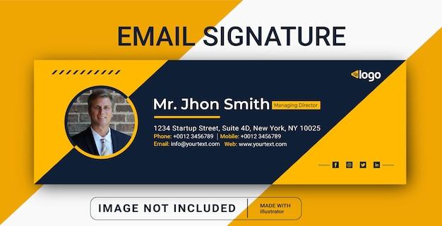 Design de modelo de assinatura de email rodapé de email pessoal capa de mídia social