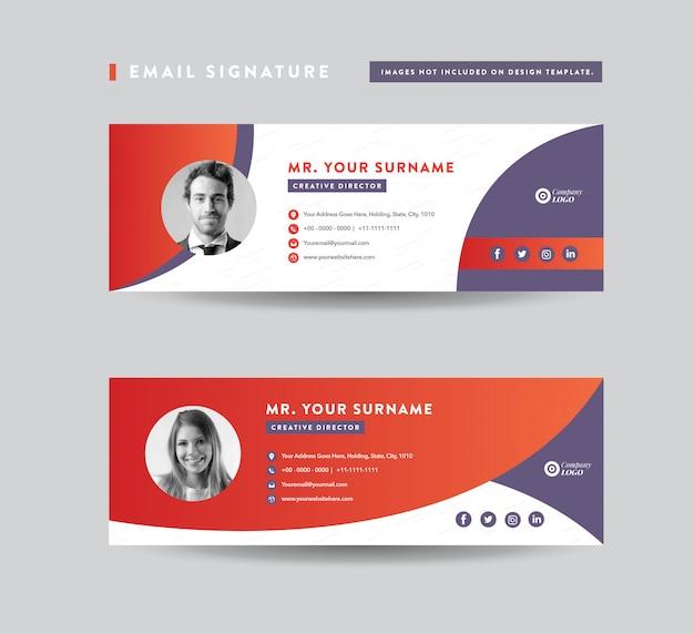 Design de modelo de assinatura de email | rodapé do email | capa pessoal de mídia social