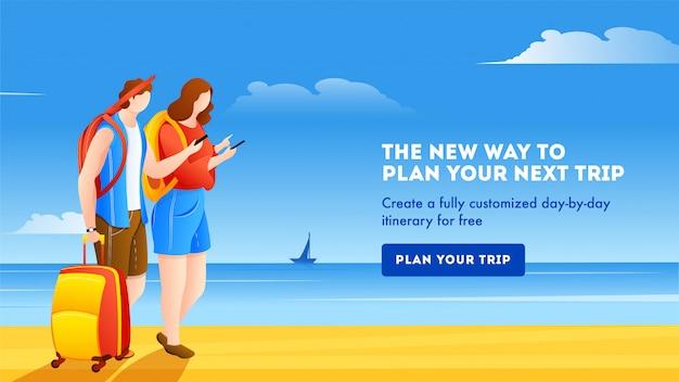 Design de modelo de banner com ilustração de turista feminina e masculina, planejando a próxima viagem na praia