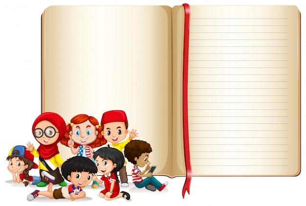 Design de modelo de banner com meninos e meninas
