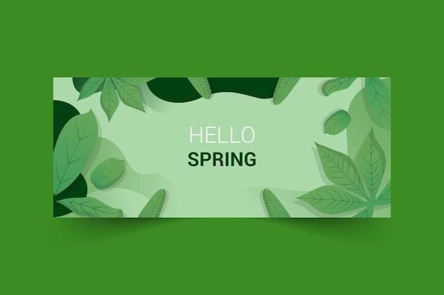 Design de modelo de banner com tema de primavera para banner de fanpage de mídia social Vetor Premium