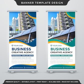Design de modelo de banner cumulativo de negócios estilo premium