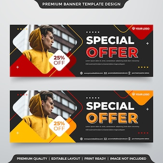 Design de modelo de banner da web com abstrato e estilo