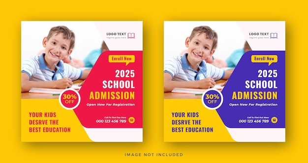 Design de modelo de banner da web para crianças na educação escolar admissão nas mídias sociais