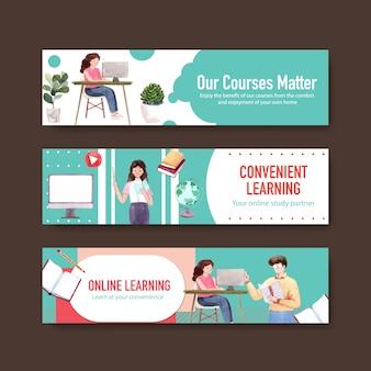 Design de modelo de banner de aprendizagem on-line