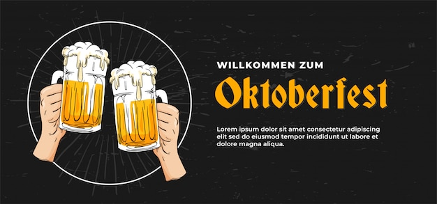 Design de modelo de banner de cartaz willkommen zum oktoberfest Vetor Premium
