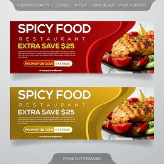 Design de modelo de banner de comida de restaurante de bife de carne