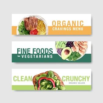 Design de modelo de banner de comida saudável para voucher, aquarela de propaganda