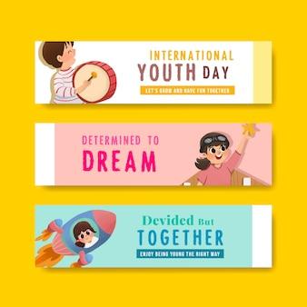 Design de modelo de banner de dia da juventude para o dia internacional da juventude, modelo, aquarela de publicidade