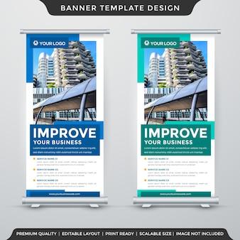 Design de modelo de banner de estande de negócios com estilo minimalista e estande