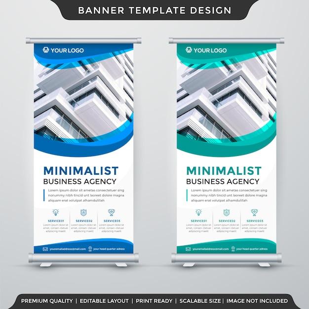 Design de modelo de banner de estande de negócios com uso de estilo minimalista para publicação de produtos