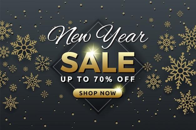 Design de modelo de banner de fundo de venda de ano novo com floco de neve