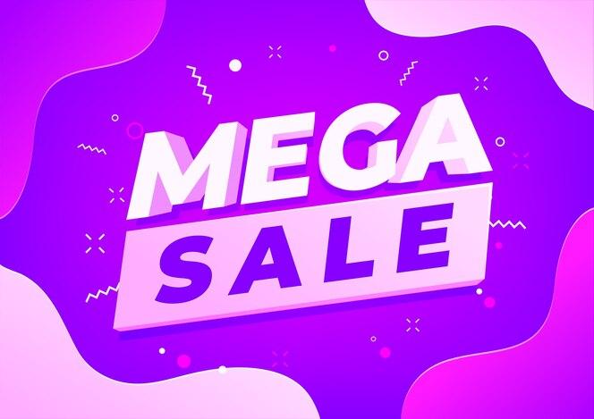Design de modelo de banner de mega venda, oferta especial de grande venda.